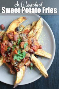 Vegan Chili Loaded Sweet Potato Fries