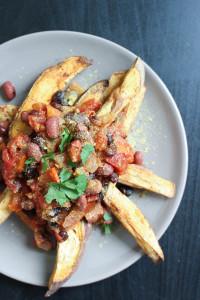 Vegan Chili Loaded Sweet Potato Fries-8