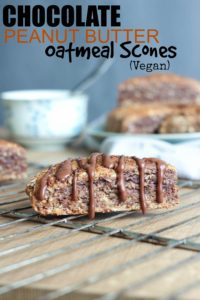 THE BEST Vegan Chocolate Peanut Butter Oatmeal Scones! Sweet, hearty, and dairy and egg free, these scones are the perfect treat! Vegan!
