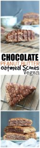 THE BEST Vegan Chocolate Peanut Butter Oatmeal Scones! These scones are dairy and egg free, sweet and hearty, and perfect for any occasion! Vegan!