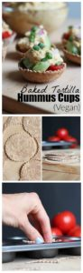 THE EASIEST Baked Tortilla Hummus Cups. These hearty, savory tortilla stuffed cups are perfect for appetizers or even a quick snack! Vegan! 2