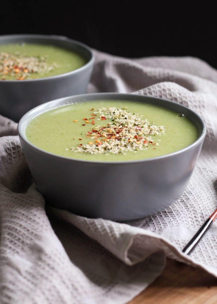 dairy-free and creamy broccoli potato soup in a bowl