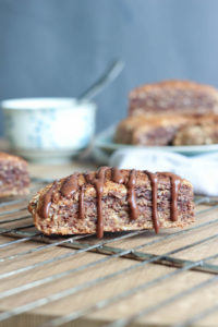 THE BEST Vegan Chocolate Peanut Butter Oatmeal Scones! I used to make scones like these all the time before I went vegan and I finally got around to making them dairy and egg free. These scones are sweet, moist and hearty!