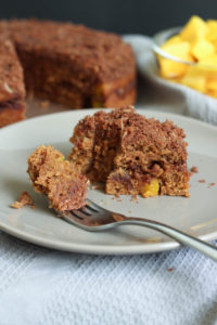 THE BEST Vegan Mango Streusel Cake! This sweet, moist, and crumbly Vegan Mango Streusel Cake is a delicious, unique way to celebrate any occasion! Vegan!