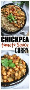 THE EASIEST Chickpea Tomato Sauce Curry! Made with spicy chili and ginger and infused with heaps of cilantro, this Easy Chickpea Tomato Sauce Curry is the perfect quick, weeknight meal. Vegan and Gluten Free!