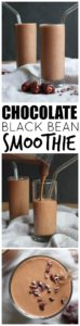 THE BEST Chocolate Black Bean Smoothie! Made with creamy black beans and protein rich soy milk, this Chocolate Black Bean Smoothie is a delicious, healthy way to satisfy your sweet tooth. Vegan and Gluten-Free!