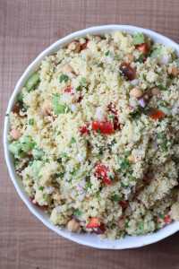 Made with fresh vegetables and freshly squeezed lemon juice, this Simple Lemon Couscous Salad is the perfect side dish or entree for summer!
