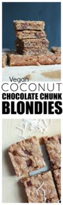 The EASIEST Vegan Coconut Chocolate Chunk Blondies! These Vegan Blondies couldn't be easier to make or more delicious! Made with chewy shredded coconut and sweet, gooey chocolate, vegans and non-vegans alike will devour these in a flash!