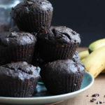 Double Chocolate Black Tahini Banana Muffins