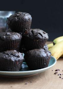 Vegan Double Chocolate Black Tahini Banana Muffins-2