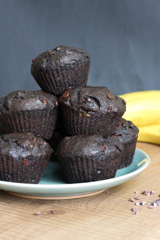 Vegan Double Chocolate Black Tahini Banana Muffins-4