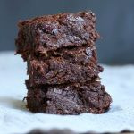 Vegan Zucchini Brownies stacked on each other