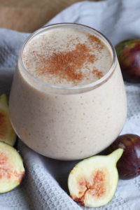 Cinnamon on top of a Fig and Tahini Smoothie