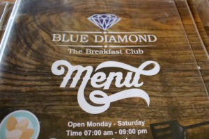 Blue Diamond Breakfast Club Chiang Mai Thailand Menu