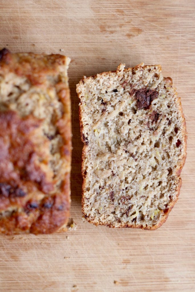 melty chocolate chips in vegan oil free banana bread