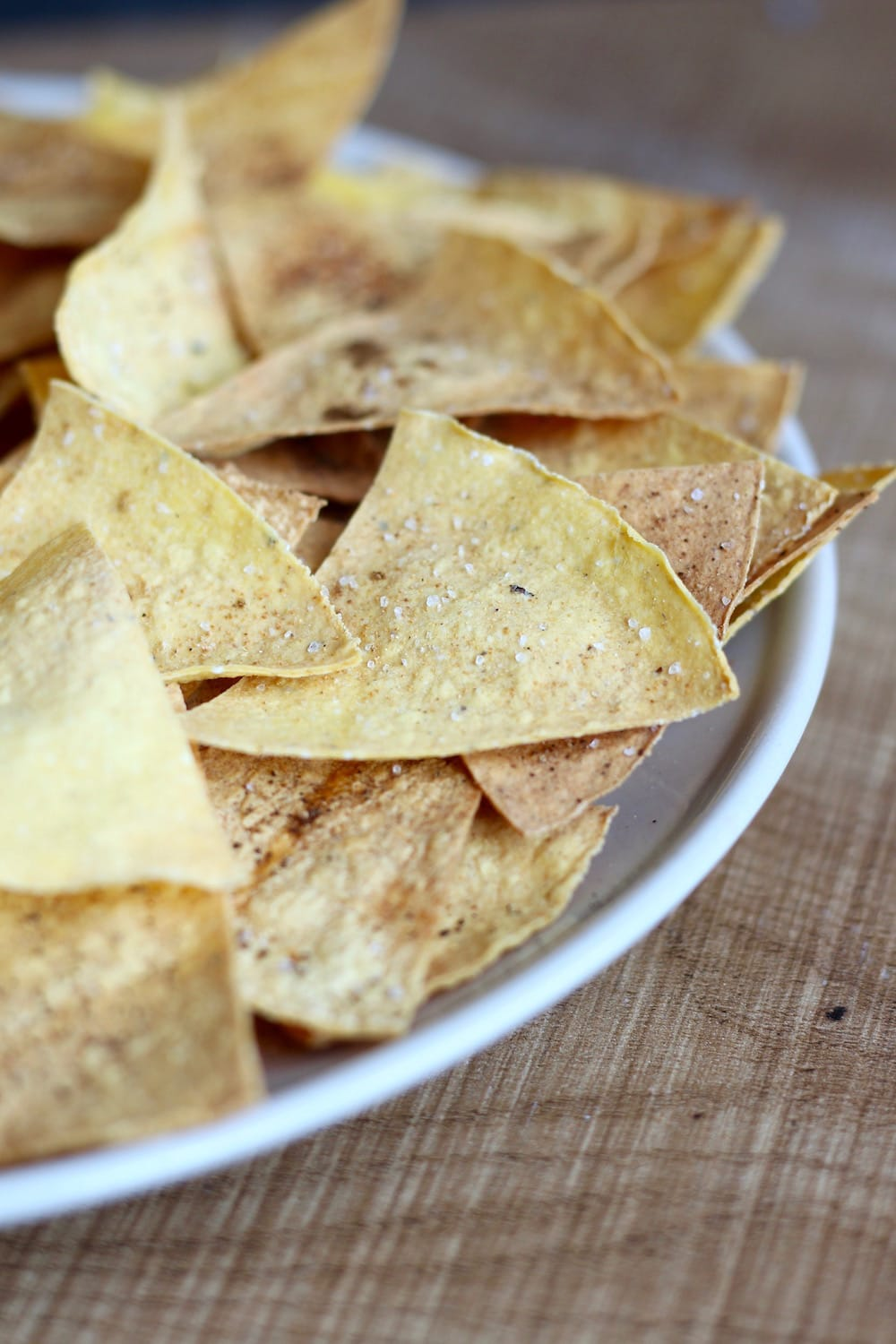crisp homemade oil-free baked tortilla chips
