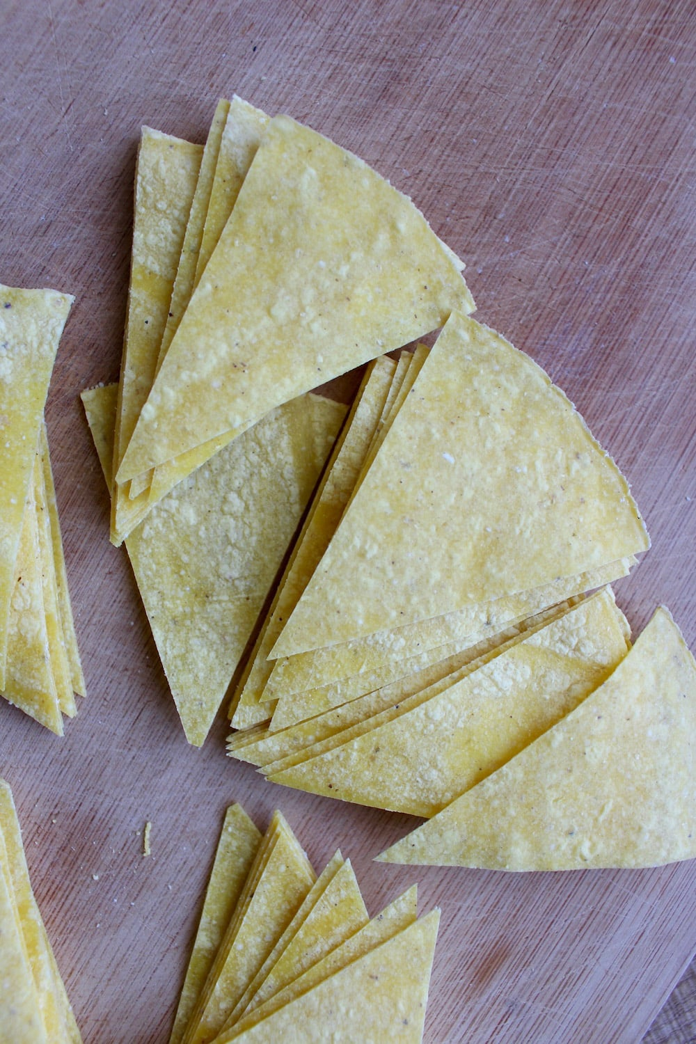 Corn tortillas cut into chip shape