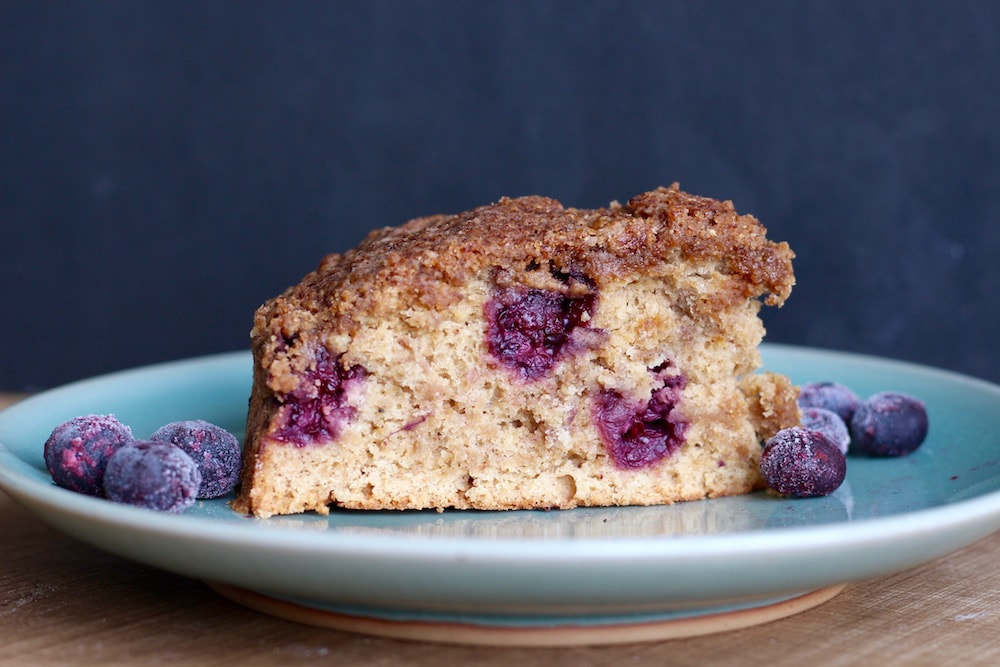 Vegan blueberry coffee cake on plate