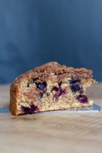 A slice of Vegan Blueberry Coffee Cake