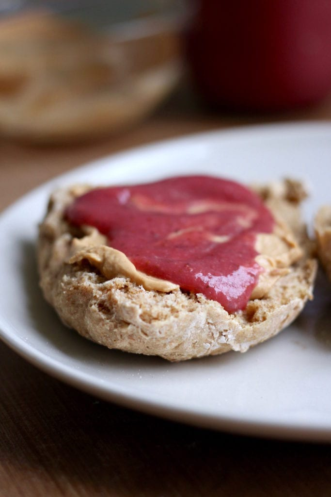 Irish soda bread smeared with peanut butter and jelly