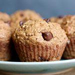 Close up of chocolate chip in Vegan Applesauce Oat Bran Muffin