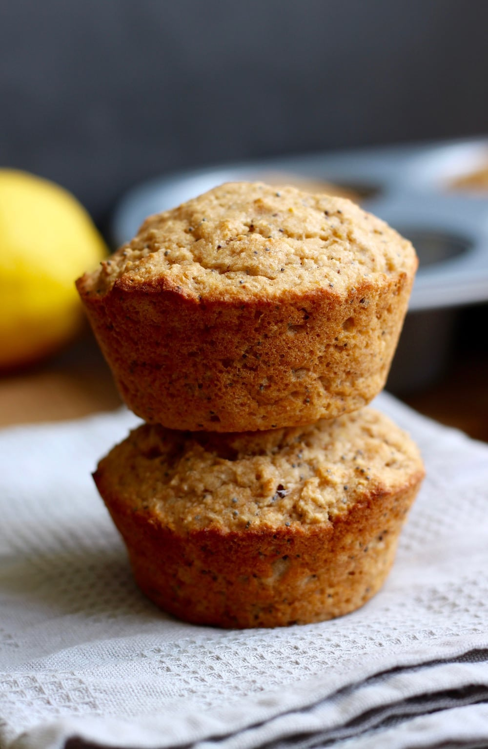 Lemon Poppy seed muffins stacked on each other