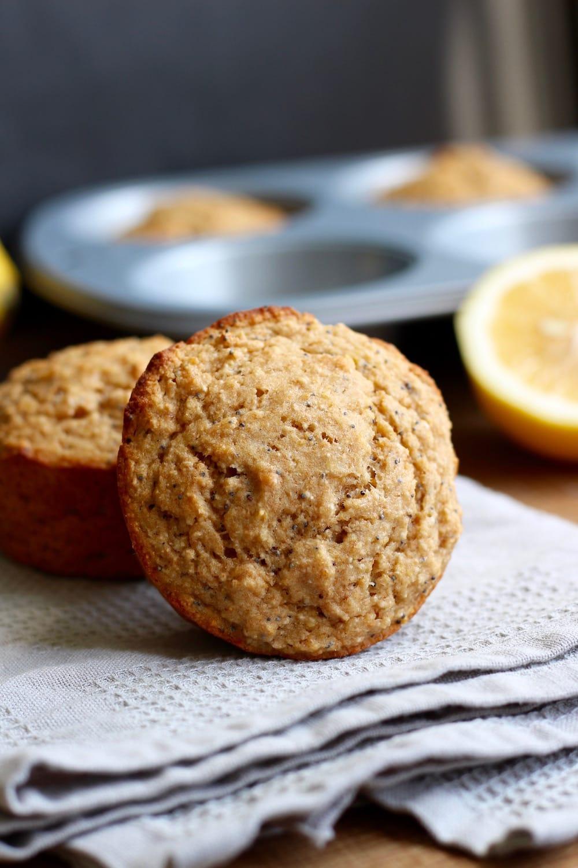 Jumbo Vegan Lemon Poppy Seed Muffin on a towl