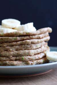 A close up of Vegan Zucchini Bread Pancakes