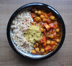 Pumpkin Coconut chickpea curry paired with rice