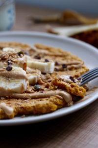 close up of a single serving pumpkin pancake