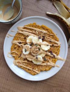 single serving vegan pumpkin pancake