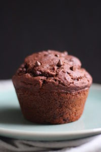 a single jumbo chocolate muffin on a plate