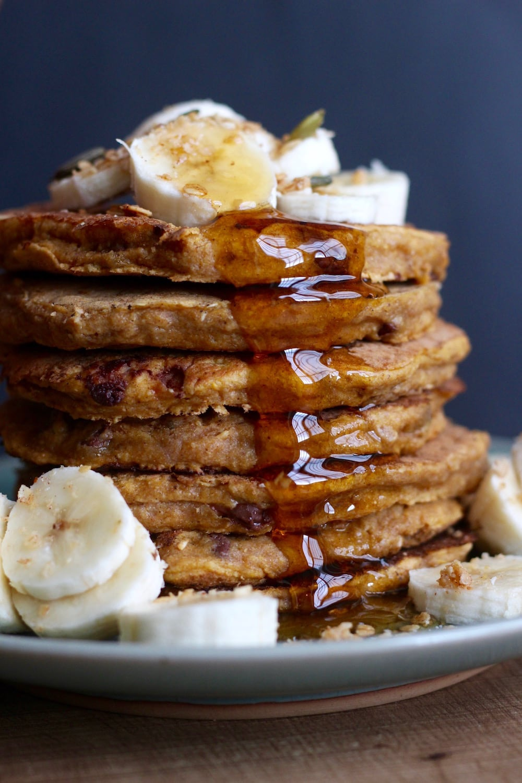 maple syrup dripping down Whole Wheat Vegan Pumpkin Pancakes