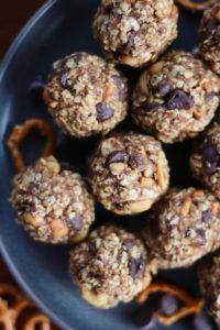 Peanut Butter Pretzel Cookie dough balls on a plate