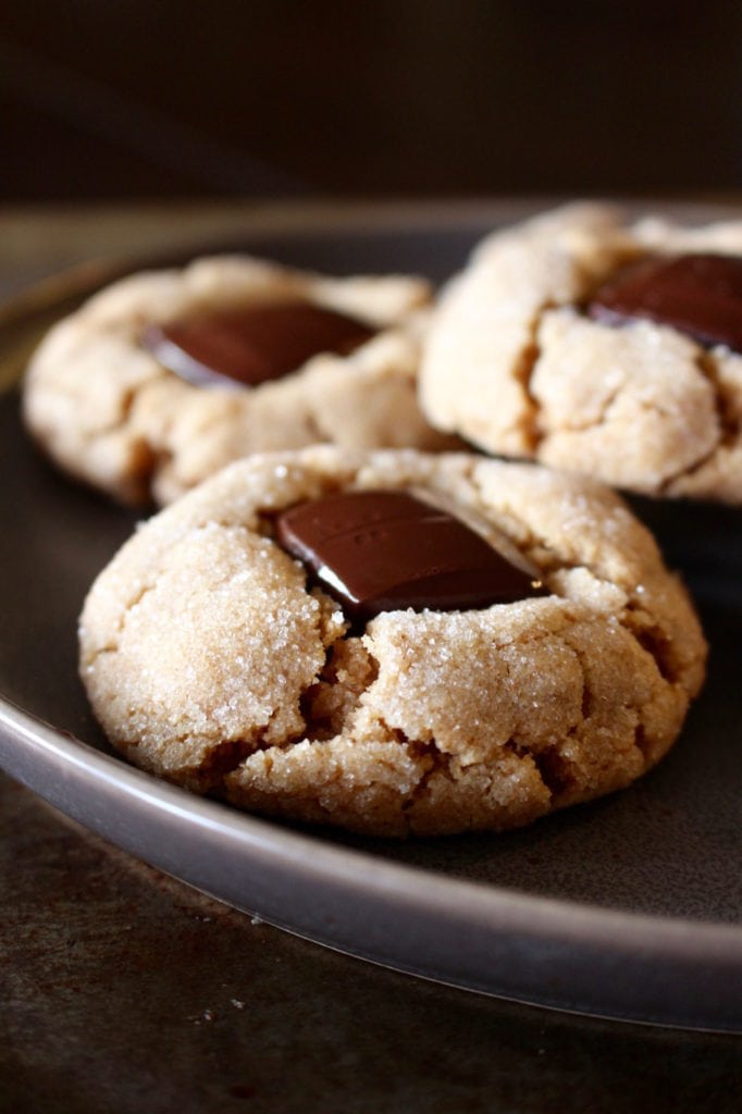 Peanut butter blossom cookies with melty chocolate centers