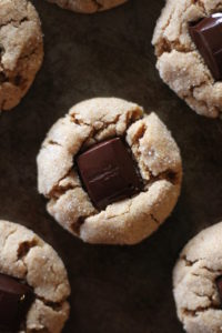 vegan peanut butter blossom cookies from above