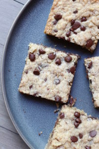 Chocolate Chip Oatmeal Blondies on a plate