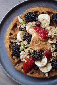 Vegan Whole Grain Waffles with berries and peanut butter