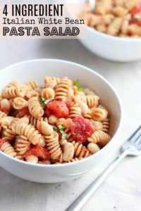 4 Ingredient Italian White Bean Pasta Salad-Pinterest