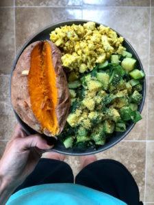 cheesy vegan tofu scramble
