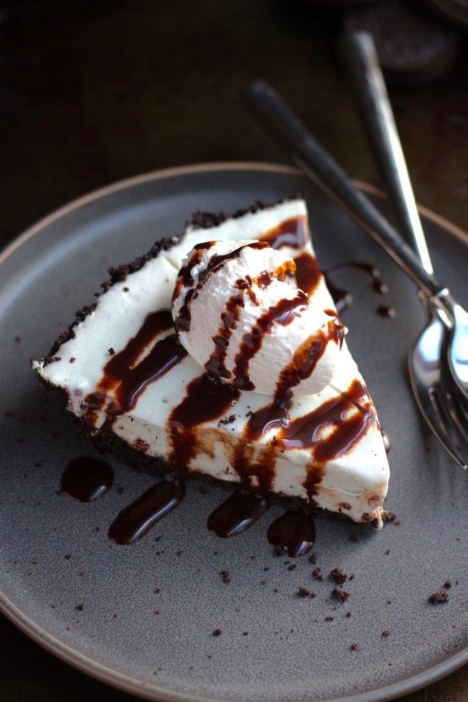 Easy Vegan Ice Cream Cake with Oreo Crust on plate