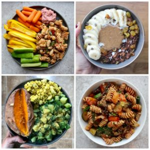 collage of four different plant based meals