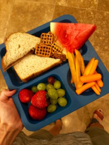 peanut butter and jelly sandwich, veggies and fruit