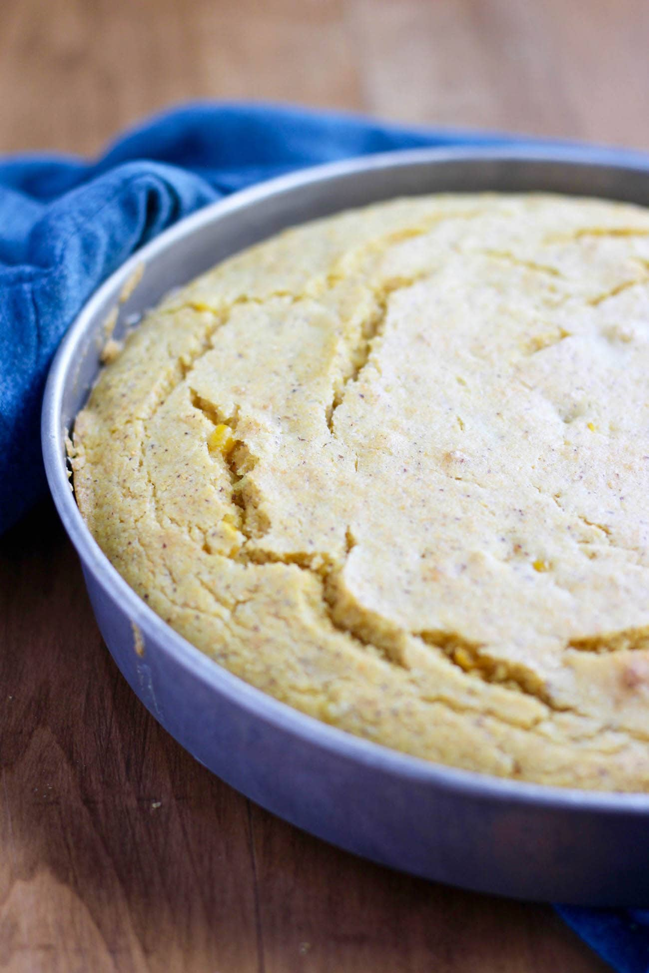 Vegan Creamed Corn Cornbread in pan