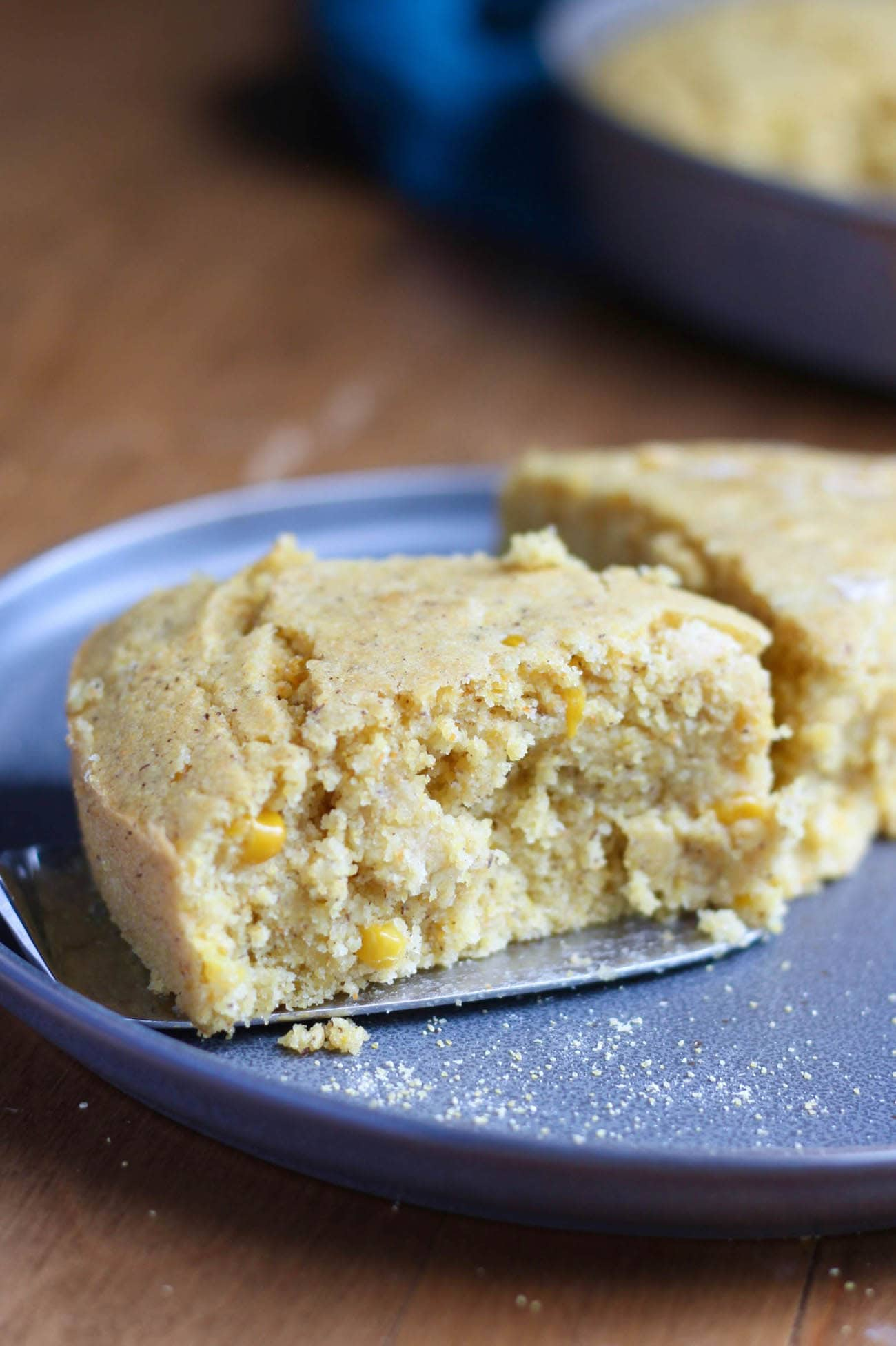 Vegan Creamed Corn Cornbread on plate