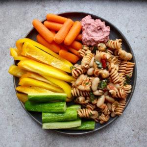 Pasta salad, beetroot hummus and raw veggies