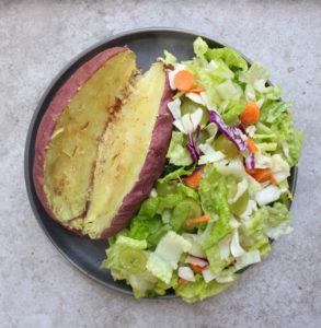 Japanese sweet potato and salad
