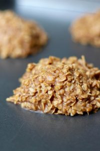 Almond Butter Coconut No Bake Cookies hardening on a pan