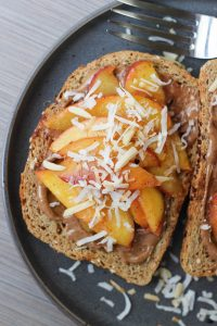 Almond Butter Toast with Sauteed Cinnamon Peaches