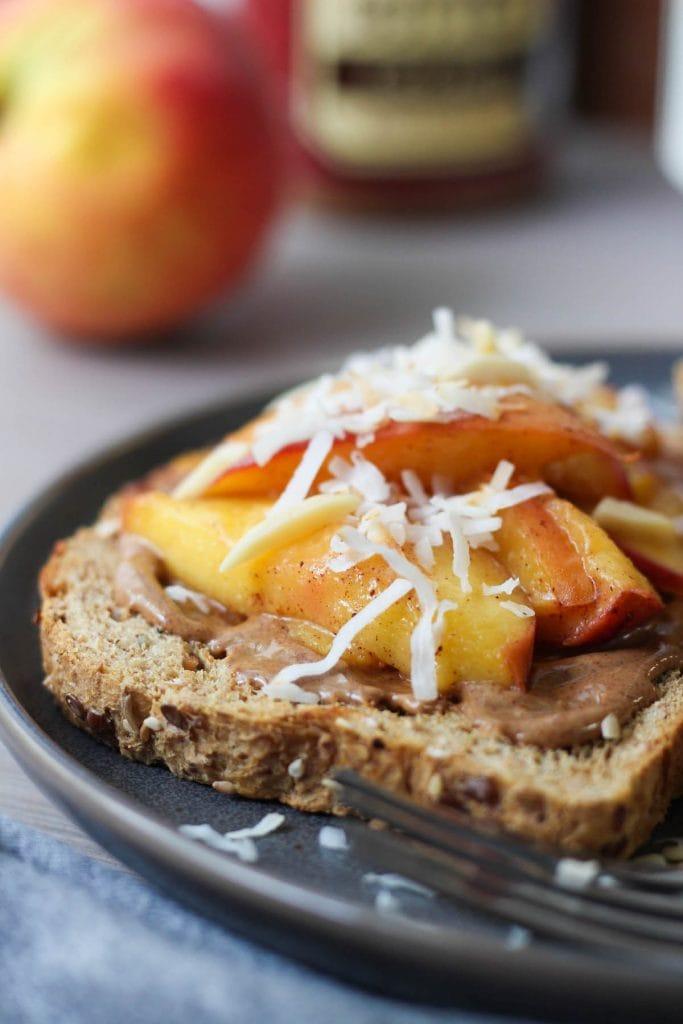 Almond Butter Toast with Sautéed Cinnamon Peaches